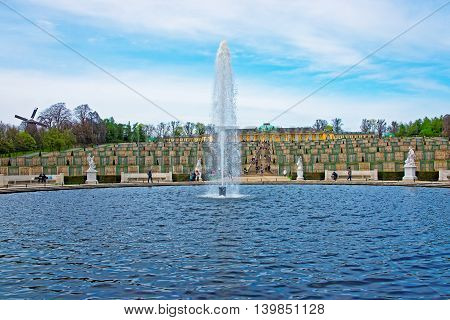 Fountain And Sanssouci  Palace And Terrace Garden In Potsdam