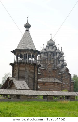 The complex Manor Bogoslovka in the style of Russian wooden architecture in the Nevsky Forest Park near St. Petersburg Russia.
