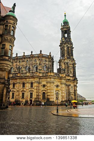 Hofkirche In Center Of Dresden In Saxony State Of Germany