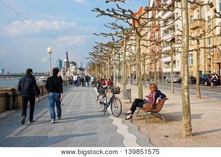 Rhine Embankment Promenade In The Old City Center In Dusseldorf