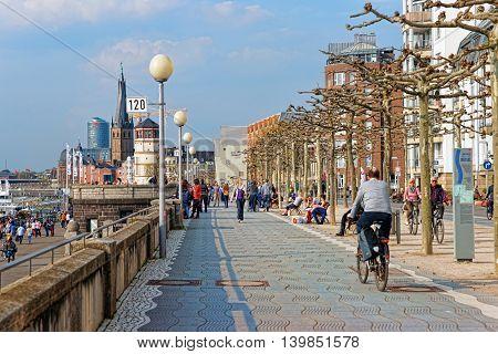 Rhine Embankment Promenade In The Old City Center Of Dusseldorf