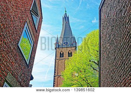 Saint Lambertus Basilica In Old City Center Of Dusseldorf