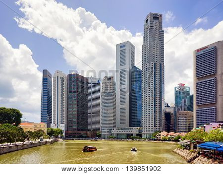 Skyscrapers In Downtown Core Along Quay District Embankment In Singapore