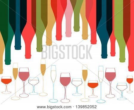 Vector background bottle.Alcoholic Bar menu background.Card Cocktail party.Template for menu card.Wine list design.Colorful bottle on background.Bottles silhouette.