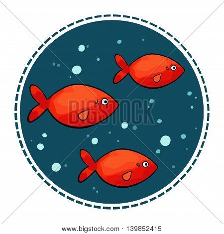 Vector illustration of small red fish in a circle shape on a dark background.