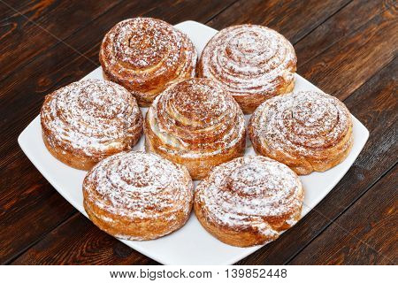Sweet Roll Buns With Shugar Powder On Table