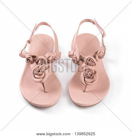 pink leather woman summer sandals isolated on white
