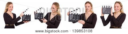 Brown dress girl holding clapperboard isolated on white