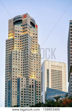 One Raffles Place And Uob Plaza In Singapore Skyline