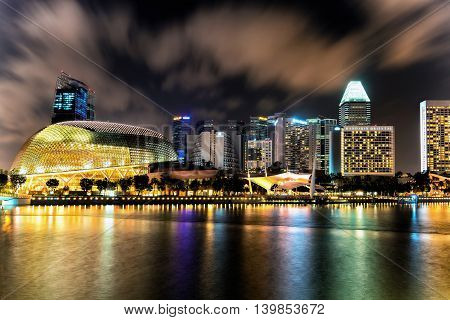 Singapore Esplanade Theater At Marina Bay At Night