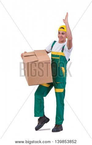 Young man moving boxes isolated on white