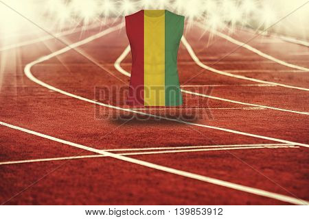 Red Running Track With Lines And Guinea Flag On Shirt