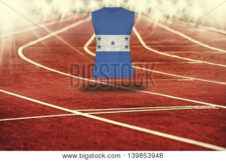 Red Running Track With Lines And Honduras Flag On Shirt