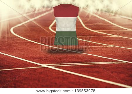 Red Running Track With Lines And Hungary Flag On Shirt