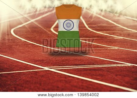 Red Running Track With Lines And India Flag On Shirt