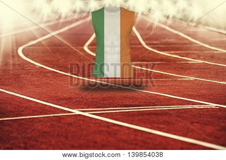 Red Running Track With Lines And Ireland Flag On Shirt