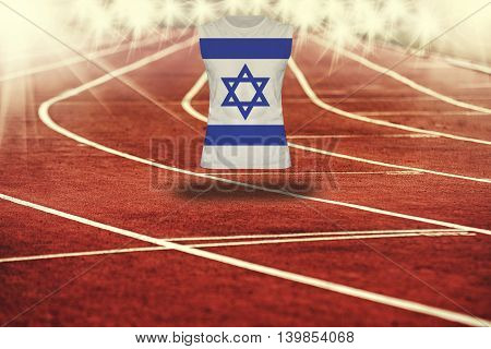 Red Running Track With Lines And Israel Flag On Shirt