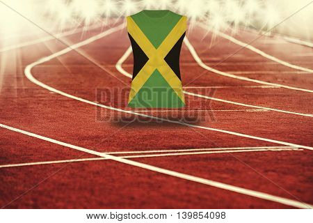 Red Running Track With Lines And Jamaica Flag On Shirt