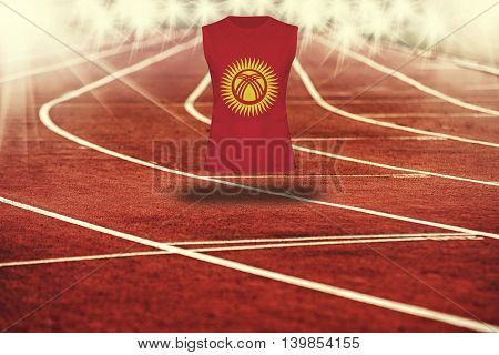 Red Running Track With Lines And Kyrgyzstan Flag On Shirt