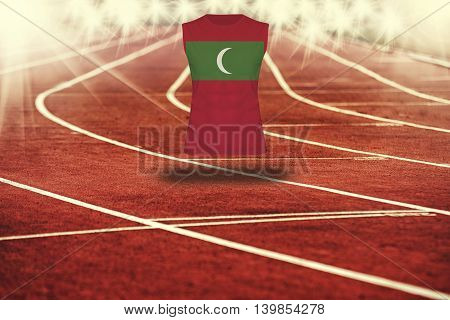 Red Running Track With Lines And Maldives Flag On Shirt