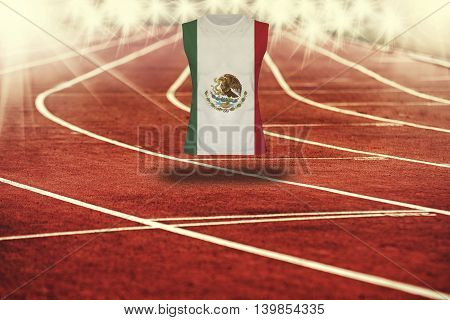 Red Running Track With Lines And Mexico Flag On Shirt