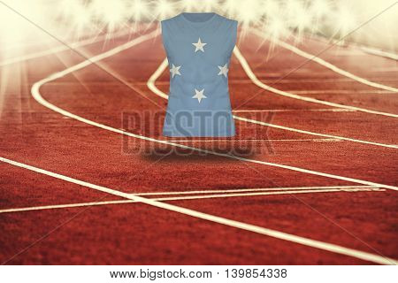 Red Running Track With Lines And Micronesia Flag On Shirt
