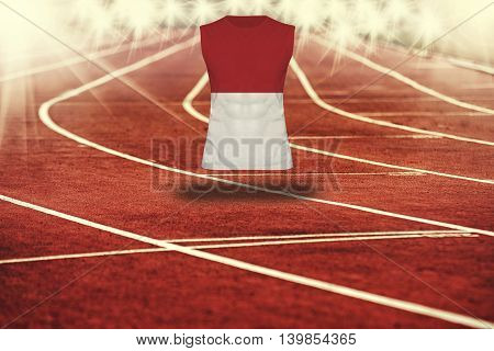 Red Running Track With Lines And Monaco Flag On Shirt