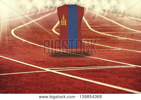 Red Running Track With Lines And Mongolia Flag On Shirt