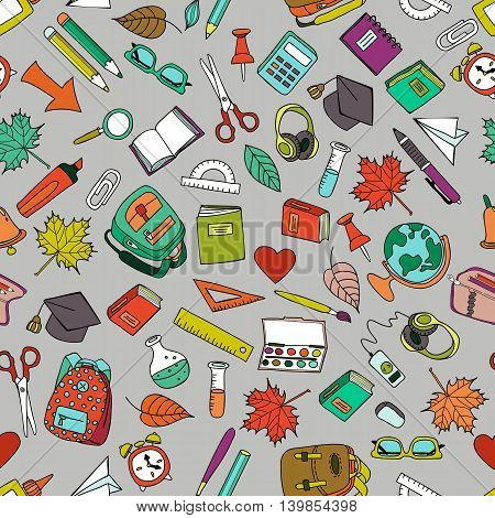 Vector Multicolor Seamless Pattern With Doodle School Tools.