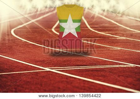 Red Running Track With Lines And Myanmar Flag On Shirt