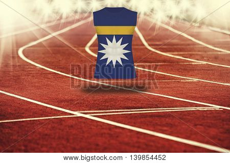 Red Running Track With Lines And Nauru Flag On Shirt