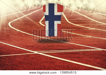 Red Running Track With Lines And Norway Flag On Shirt