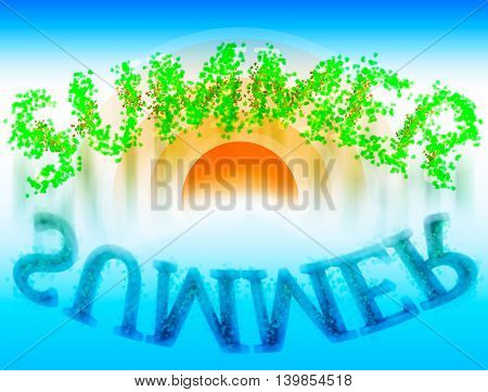 Summer word with water reflection illustration backdrop
