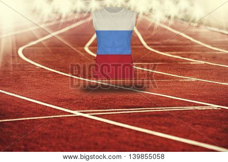 Red Running Track With Lines And Russian Federation Flag On Shirt