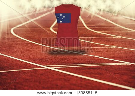 Red Running Track With Lines And Samoa  Flag On Shirt