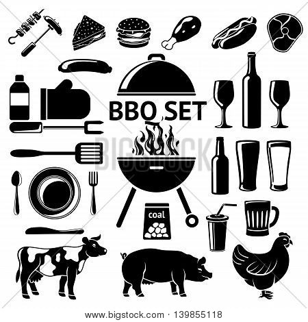 Set for BBQ party. Grill and drinks, instruments, meat types etc.