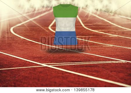 Red Running Track With Lines And Sierra Leone Flag On Shirt