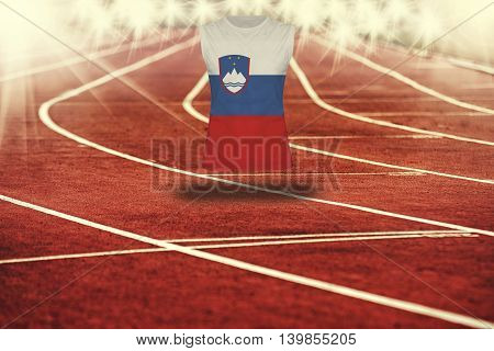 Red Running Track With Lines And Slovenia Flag On Shirt