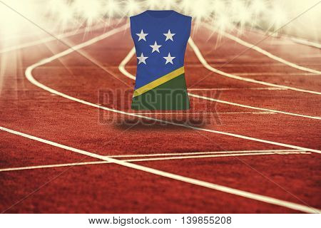 Red Running Track With Lines And Solomon Islands Flag On Shirt