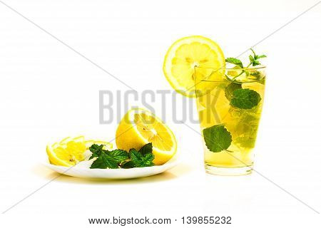 Fresh Cocktail And Plate Of Lemon Mint Sugar Isolated On White Background