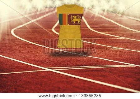 Red Running Track With Lines And Sri Lanka Flag On Shirt