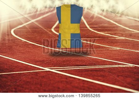 Red Running Track With Lines And Sweden Flag On Shirt