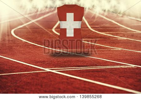 Red Running Track With Lines And Switzerland Flag On Shirt