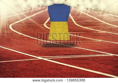 Red Running Track With Lines And Ukraine Flag On Shirt