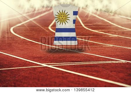 Red Running Track With Lines And Uruguay Flag On Shirt