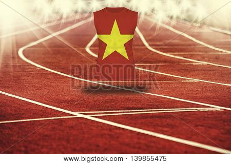 Red Running Track With Lines And Vietnam Flag On Shirt