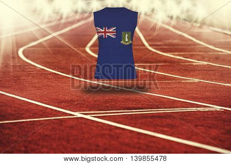 Red Running Track With Lines And Virgin Islands Gb Flag On Shirt