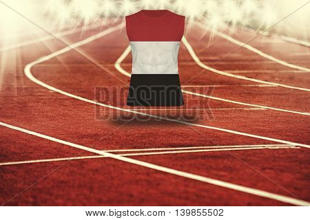 Red Running Track With Lines And Yemen Flag On Shirt