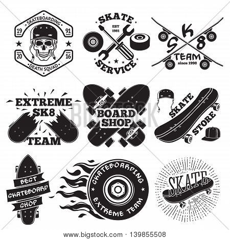 Set of skateboarding labels - skull in helmet, repair shop, skate team, board shop, etc. Vector illustration