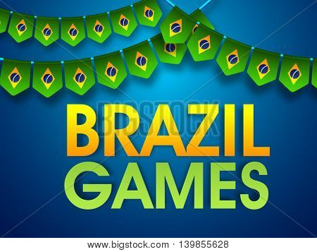 Glossy Text Brazil Games on Brazilian Flag style buntings decorated background, Creative Poster, Banner or Flyer.